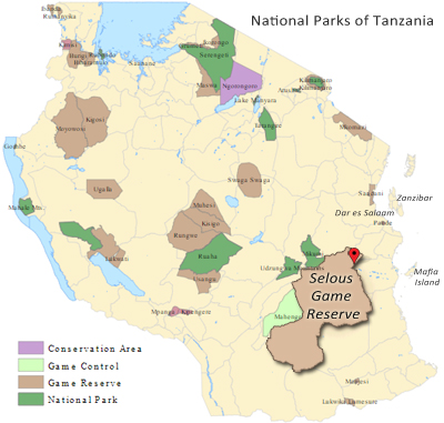 Map of Tanzania and the Selous Game Reserve