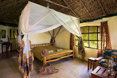 Mudhut Accommodation at Selous River Camp